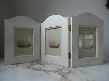 Cream Wooden Shabby Chic Style Trifold Hinged Photo Picture Frame Holds 3 Photo