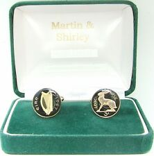 1967 IRISH Cufflinks made from old IRELAND Threepence coins in Black & Gold