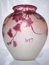 """Beau Vase LEGRAS Série """" Rubis """" en Pâte de Verre Gravé émaillé  Art Nouveau."""