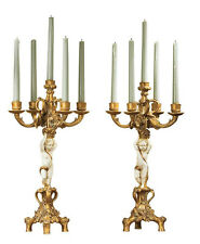 Pair (set of 2) French Baroque Cherubs Candelabra Replica Reproduction