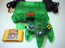 JUNGLE GREEN NINTENDO N64 With MEMORY EXPANSION And DONKEY KONG 64 GAME Tested!