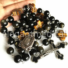 XL 10MM  GOLD Black Obsidian BEAD Lourdes Water ROSARY CROSS NECKLACE Men's GIFT