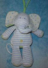 Just One Year Plush Elephant Musical Crib Pull Blue White Stripe Dot Baby Toy