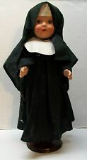 Composition Nun Doll with Black Habit and Robe Eyes Open Close 1930's Vintage