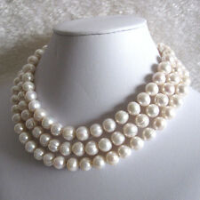 Long Pearl Necklace 48 Inches 10-11mm White Freshwater Pearl Long Necklace UK