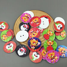 25pcs Christmas Wooden oval Buttons Sewing crafts scrapbooking Christmas 25mm