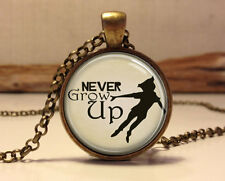 Never Grow Up Peter Pan Quote Jewelry necklace, Peter Pan Necklace Peter Pendant