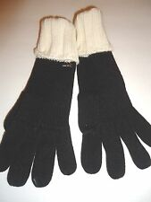 Ladies Women's Nine West Cable Knit Gloves,Black/White, O/S