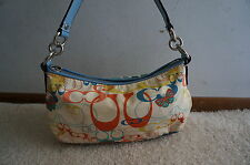 Coach Optic Blue Signature Butterfly Demi Pouch Bag Purse Zip Nylon Crossbody