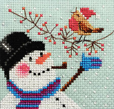 Snowman & Robin, card size ~ Full counted cross stitch kit, all materials