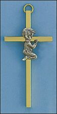 "4"" Baby Boy Brass Cross Gift Boxed for giving Baptism + any ocassion"