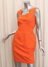 THIERRY MUGLER Womens VINTAGE Orange Cotton Sleeveless Sheath Dress 40/S