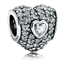 Authentic Pandora In My Heart Clear Pave Silver Charm CZ 791168CZ