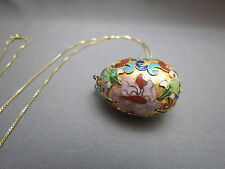 "Cloisonné Enamel Egg Pendant Necklace 30"" Sterling Silver Italian Box Chain NICE"