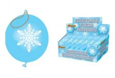 6 x BEST QUALITY 300mm  PUNCH BALLOONS BLUE SNOWFLAKE ICE FROZEN  LOWEST PRICE
