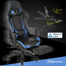 Office Gaming Chair Racing Seats Computer Chair Executive w/Footrest Rocker Blue