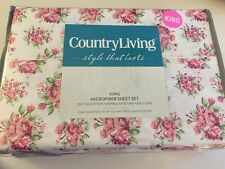 Country Living 4pc Shabby Cottage Floral Petite Roses Microfiber KING Sheet Set