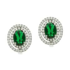 NEW STERLING SILVER .925 RHODIUM PLATED OVAL GREEN CZ DOUBLE HALO EARRINGS