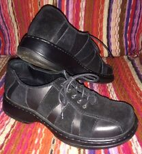 DANSKO FOLLY BLACK SUEDE & LEATHER LACE UP OXFORD SHOES WOMEN'S SIZE 7 / 37 EUC