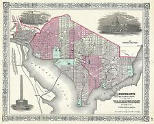 Mappa ANTICA 1866 Johnson Georgetown Washington grandi repro poster stampa pam1855