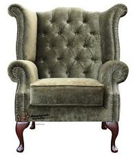 Chesterfield Queen Anne High Back Fireside Wing Chair Moss Green Fabric