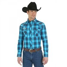 Wrangler Logo Mens Blue Plaid Embroidered Western Snap Shirt *NWT* XLarge