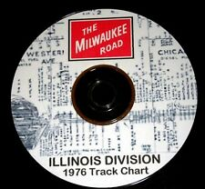 Milwaukee Road Railroad Illinois  Division Track Chart PDF Pages on DVD