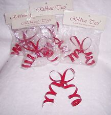 RED RIBBON TIES BOWS- META -SET OF 5: GIFTS-CAKE TOPPER-IN-OUT SIDE DECORATION