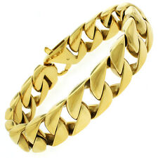 """Stainless Steel Men's Thick Cuban Curb Yellow Gold Plated Bracelet Chain 15mm 9"""""""