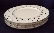 FREE S&H Lenox Kate Spade Larabee Road BLACK Accent Plates Set of 4 NWT