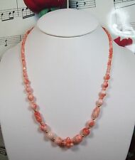 Genuine Natural Pink Coral Necklace With 14K GF Clasp. Graduated. MCR003