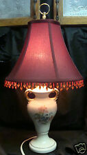 VINTAGE 1950s 60'S Mid Century PORCELAIN  FLORAL Table Lamp BEADED SHADE PRETTY