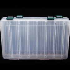 Double sided 14 Compartments Fishing Tackle Box Lures Storage Tray Bait Case SE