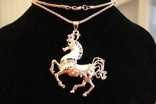 "Western:GP 28"" Chain,2"" White Enamel,Clear Crystal Circus Horse Necklac"