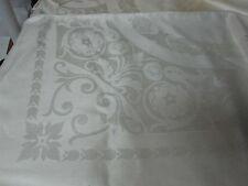 VINTAGE WHITE IRISH LINEN DAMASK TABLECLOTH w FLOWERS & LEAF & MONOGRAM 70x86