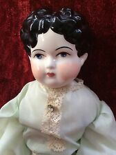 "Beautiful VTG 22""  CHINA HEAD GIRL DOLL German OOAK Rare Porcelain / Bisque"