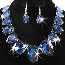 HUGE Pear SAPPHIRE BLUE Cz Crystal Tennis Statement Necklace Dangle Earring Set