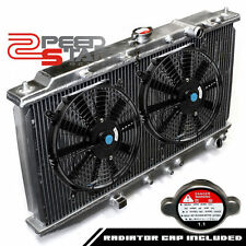 "HONDA CIVIC/CRX EC/ED/EE/EF MANUAL TWO ROW/CORE ALUMINUM RADIATOR+9"" BLACK FANS"