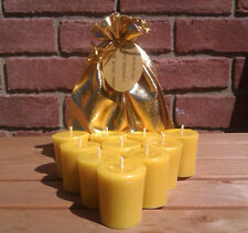 10 Unscented 100% Pure English Beeswax 15 hour Votive Candles