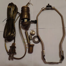 "Table Lamp Wiring Kit W/ 10"" Antique Finish Harp,3 Way Socket,Antique Brass Cord"
