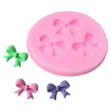 3Bow Ribbon Flower Silicone Mould Fondant Icing Cake Cupcake Topper Mold Ice DIY