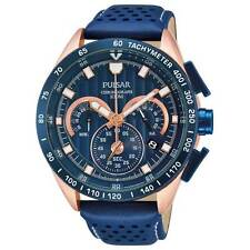 Pulsar Chronograph Blue Leather Strap Mens Watch PU2082X1