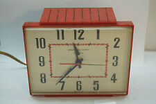 VINTAGE ELECTRIC KITCHEN CLOCK TELECHRON RED PLASTIC WALL MOUNT MODEL 2H103