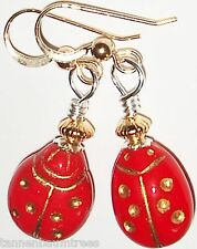 Red Etched Lady Bug Czech Bead Gold Kirsten Earrings USA Auctions Handmade Gift