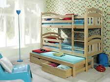 BUNK BED TRIPLE CHILDRENS 3 SLEEPER PINE WITH MATTRESSES AND STORAGE DRAWERS