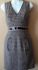 NWT Tracy Reese Plenty Anthropologie Houndstooth Dress Patent Trim 4 Wool Blend