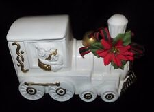 Vintage Ceramic Santa in White Train Decorated for Christmas