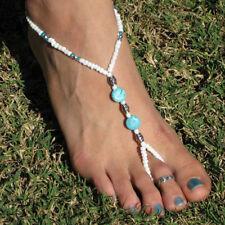Nuevo Granos De La Turquesa Con cuentas elastizado Sandalia Descalza Pie Joyería