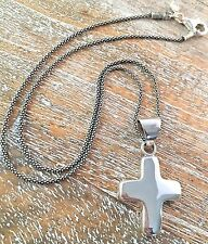 Silpada .925 Sterling Silver Puffy Cross AND Silpada Chain S0437