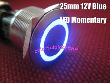 1pcs 25mm Blue Led 12V Stainless Switch Momentary Push Button 6 Pins Waterproof